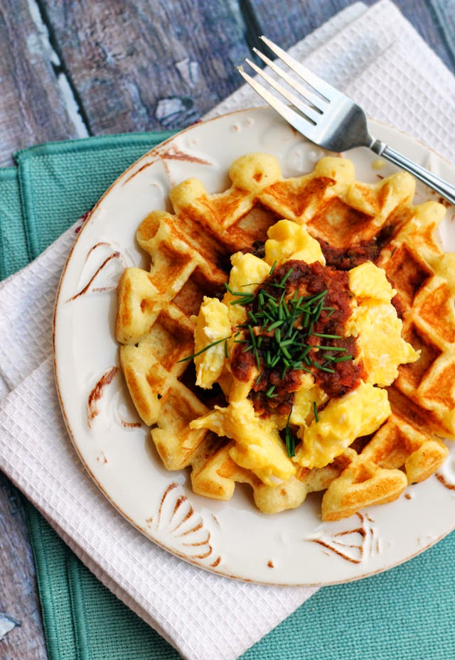 Savory Cornmeal Waffles with Eggs and Salsa