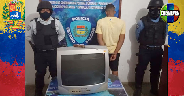 Detenido por robarse un televisor de antaño a punta de puñal