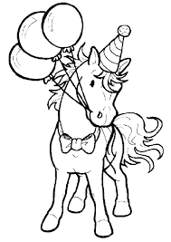 Cute Pony With Ballons Coloring Pages