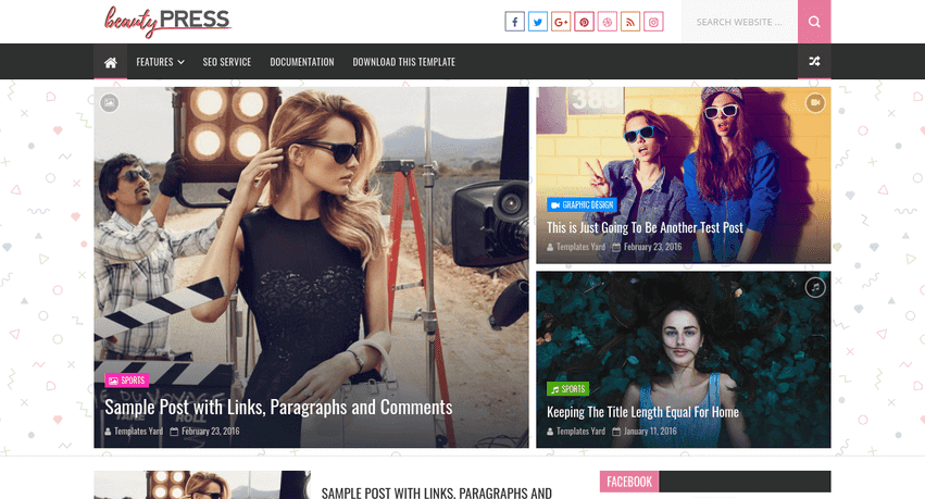 BeautyPress Stylish Blogger Template