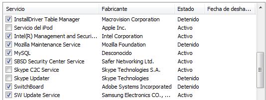 deshabilitando los servicios que se ejecutan en el inicio de windows