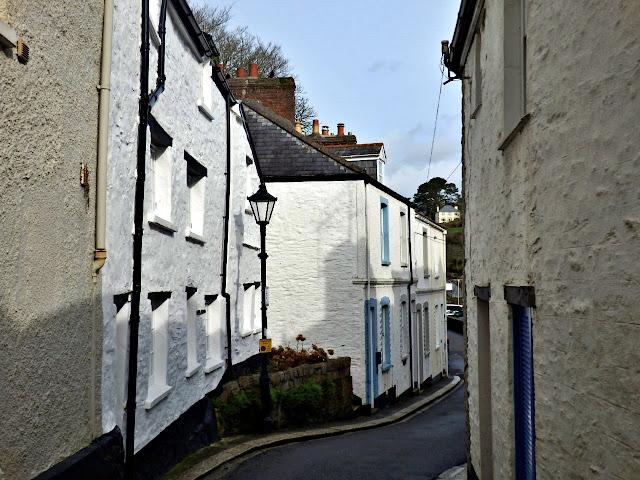 Narrow road in Fowey town, Cornwall