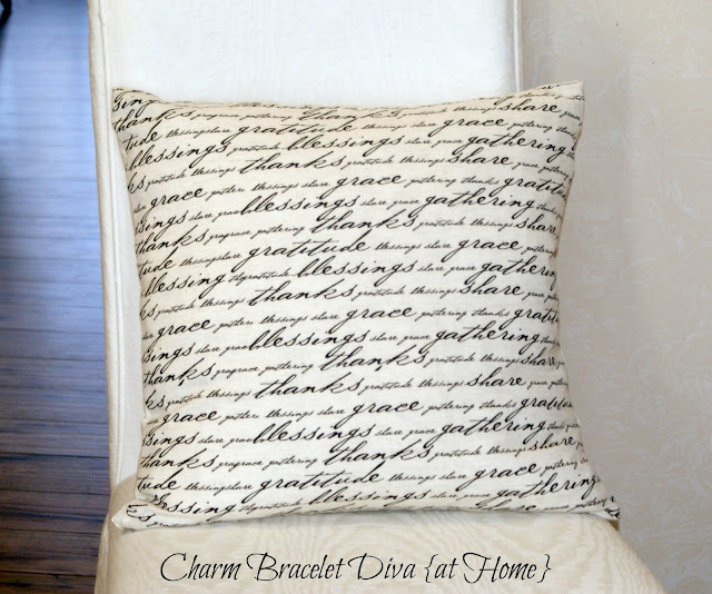 gratitude script pillow chair