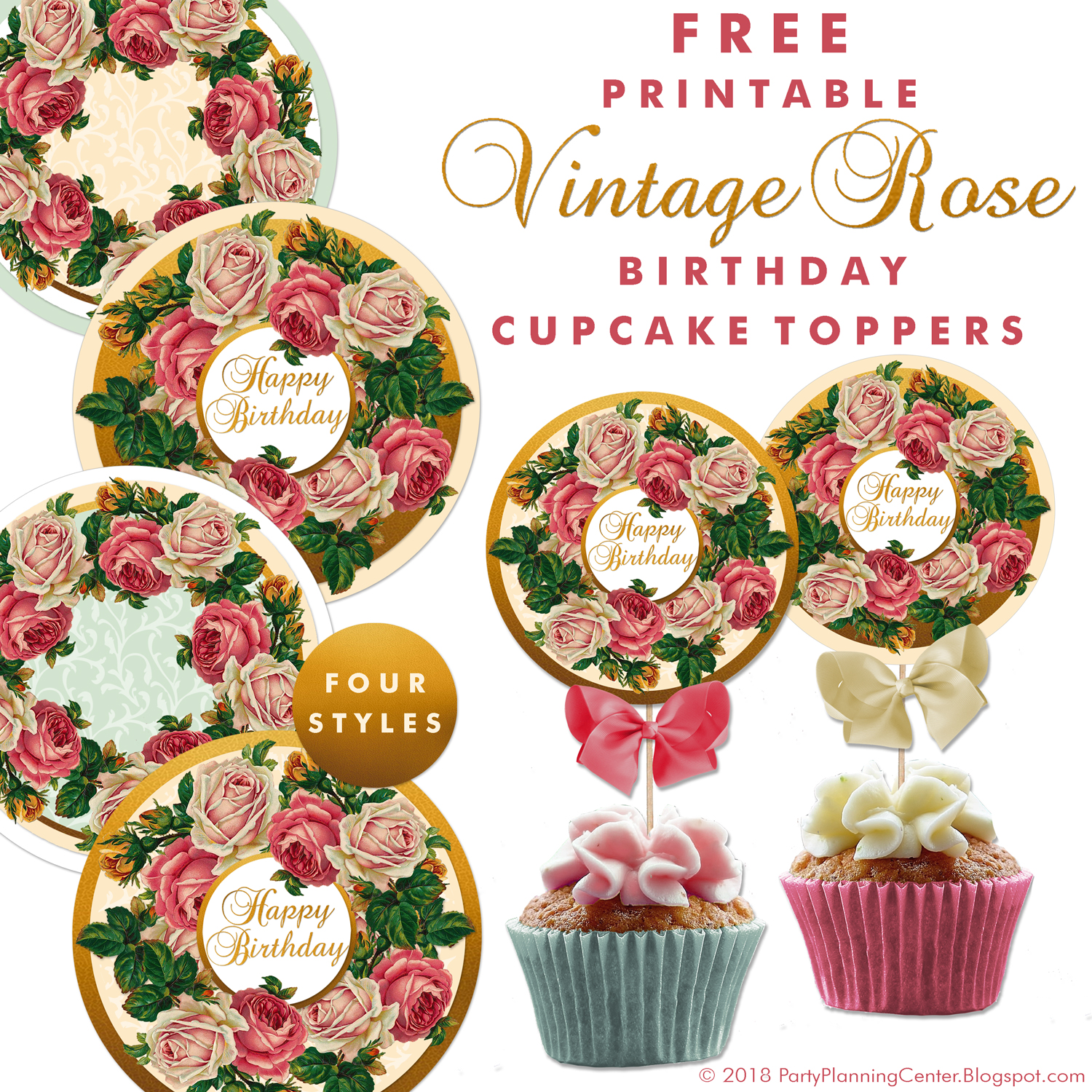 These Free Birthday And All Occasion Cupcake Toppers Are Yet Another Appearance Of Lovely Vintage Roses I Couldnt Resist Making A Bunch Printables With