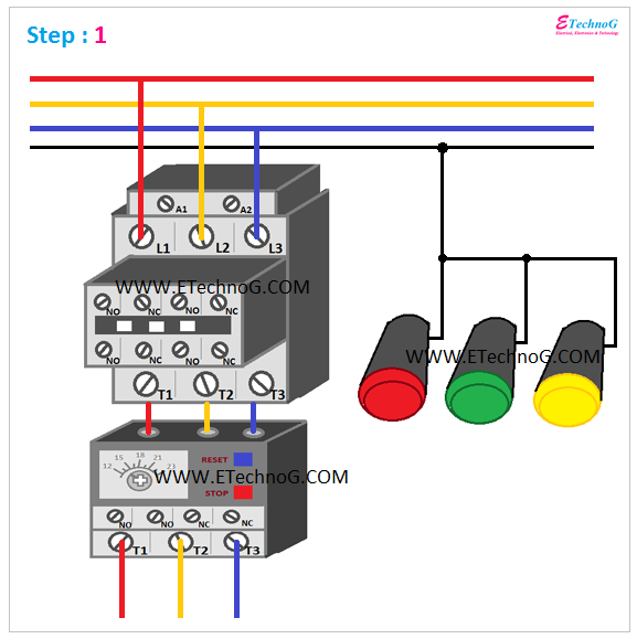 ON, OFF, TRIP Indication Lamp Wiring Connection 1