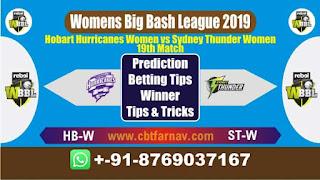 WBBL 2019 STW vs HBW 19th Match Prediction Today Womens Big Bash League 2019