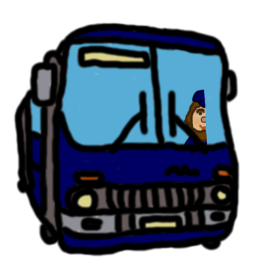 Illusztráció gyerekvershez, rajz egy ajtóit záró kereklámpás ikarusz buszról és vezetőjéről, aki félvezető, ezért félig látszik a vezetőfülkében.
