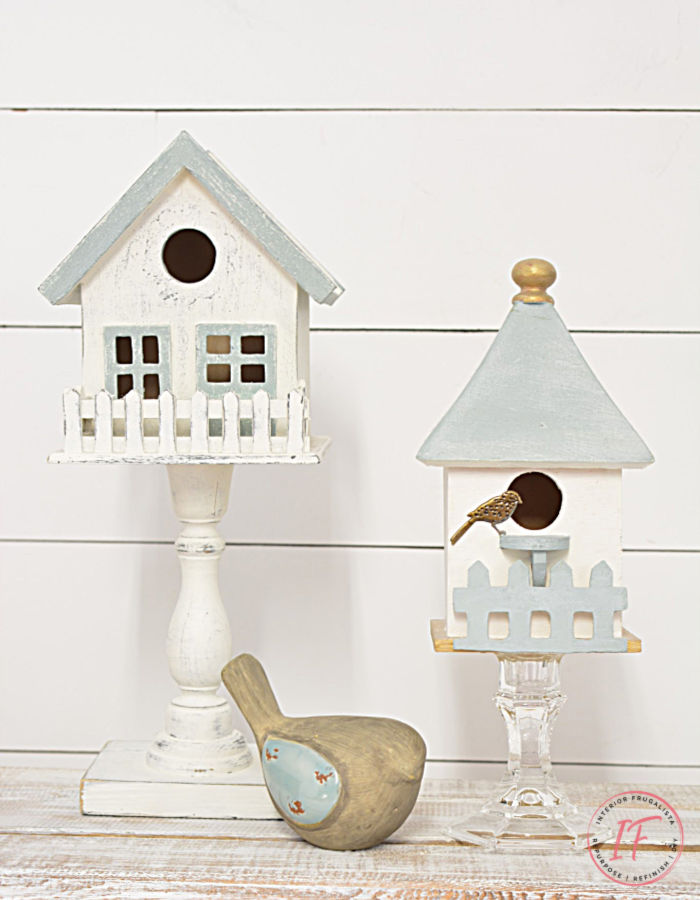 Easy DIY Indoor Birdhouse Decor for under $5 with dollar store birdhouses and glass or wood candlesticks, for budget-friendly Spring or Summer decor.