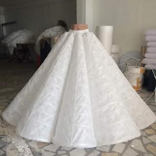 خطوات تفصيل كلوش فستان زفاف بنايق 2020