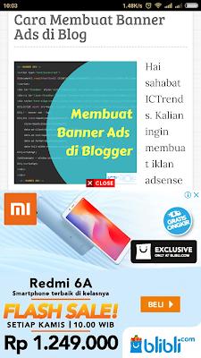 iklan banner pada smartphone