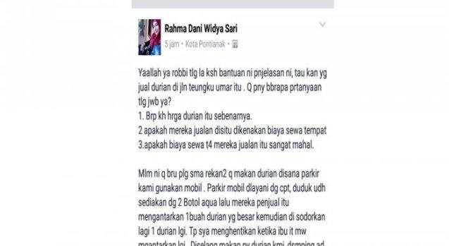 Komplain di Facebook, Warga Pontianak Makan 2 Durian di Jl. Teuku Umar Bayar Rp 700 Ribu