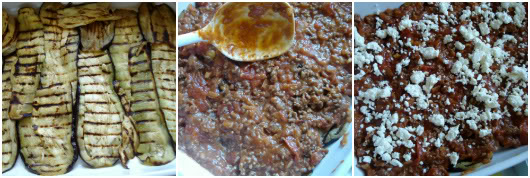 Greek moussaka by Laka kuharica: Place a layer of egg plant, cover with some meat sauce and feta cheese