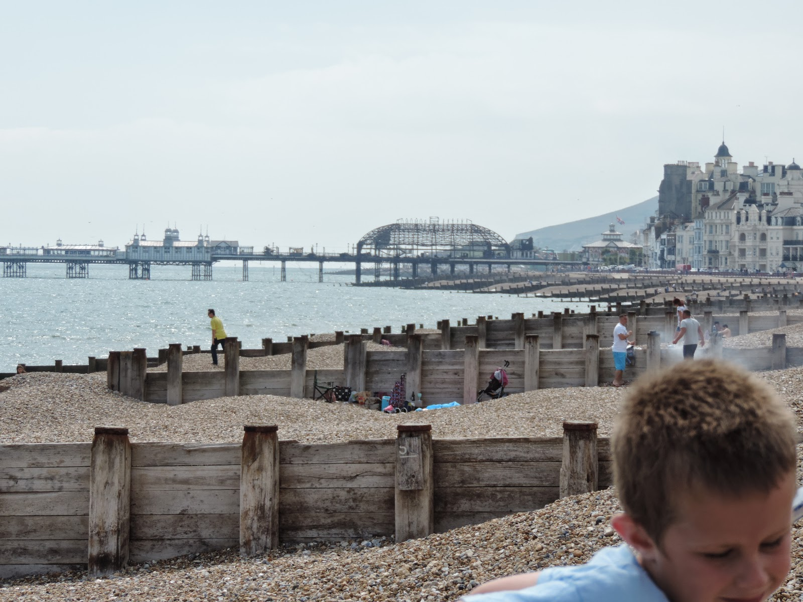 groynes and shingle beach eastbourne east sussex