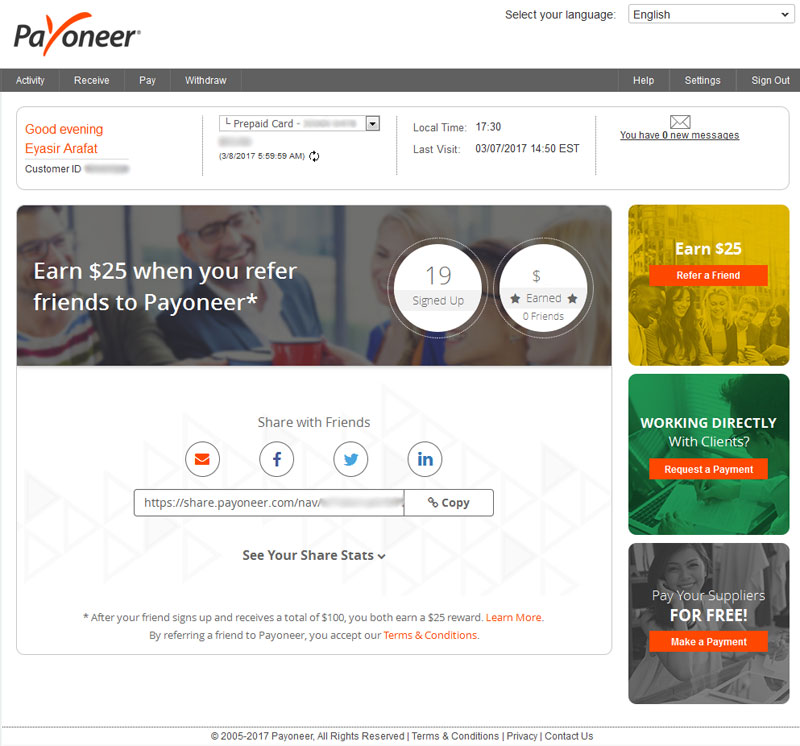 Payoneer refer a friend page