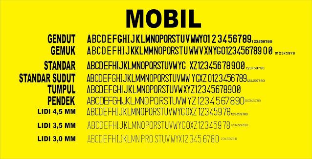 font-pelat-kendaraan