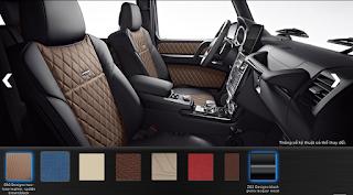 Nội thất Mercedes G500 2018 màu Đen / Nâu Saddle SR3
