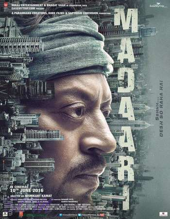 Poster Of Madaari 2016 Hindi 700MB DVDScr x264 Watch Online Free Download Worldfree4u
