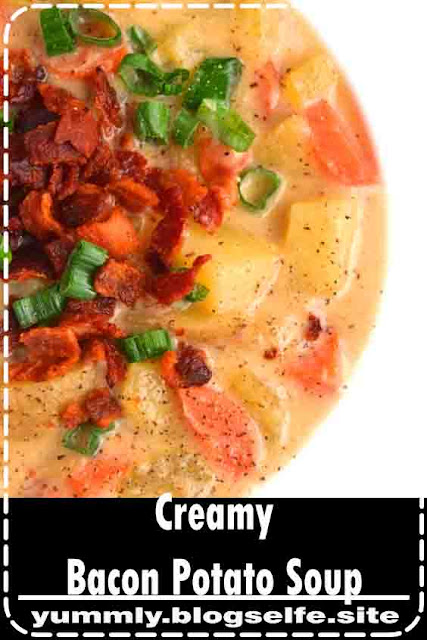Creamy Bacon Potato Soup is tasty with flavors of bacon, cheddar cheese, green onions, carrots and celery. Made lighter with milk instead of cream and Greek yogurt for a hearty yet nutritious meal!
