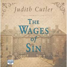 The Wages of Sin audiobook cover. A sepia-tinted image of a grand, country estate.