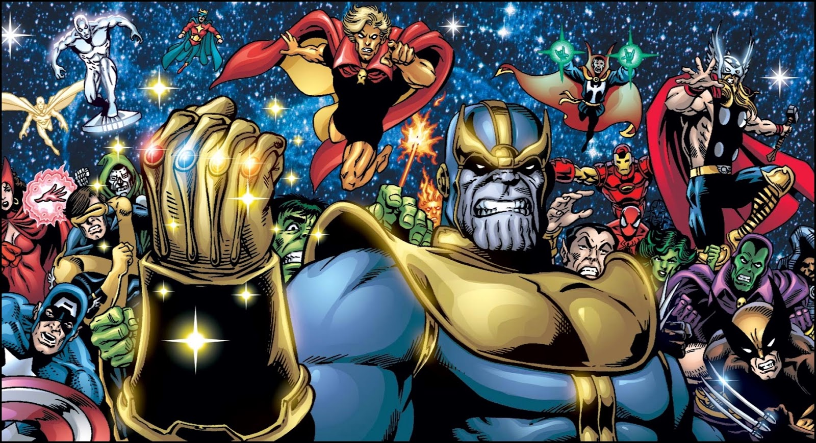 Thanos grimacing with raised Infinity Gauntlet fist surrounded by over a dozen characters