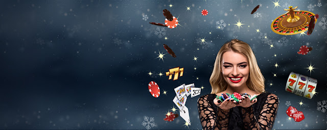 A girl with casino equipment