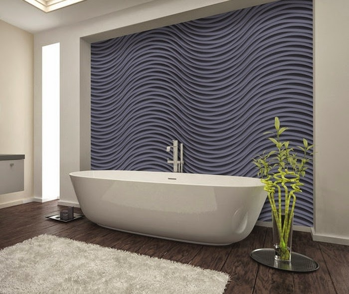 Interior design with 3D decorative wall panels for modern bathroom