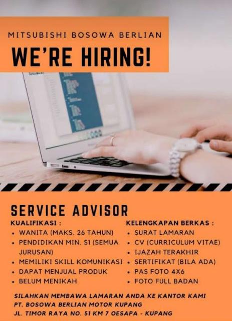 Loker Kupang Service Advisor di PT Bosowa Berlian Motor Kupang
