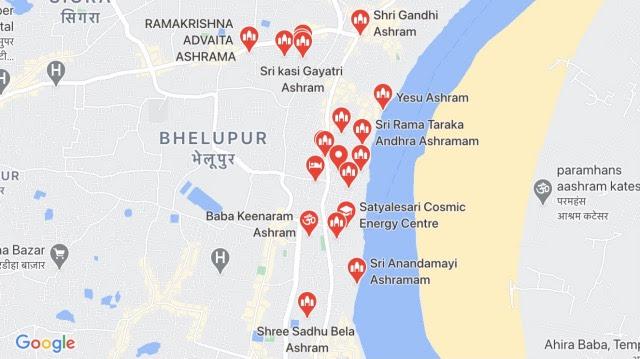 Varanasi Ashrams Map