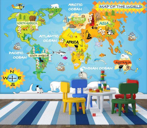 Världskarta tapet barn kille barnrum