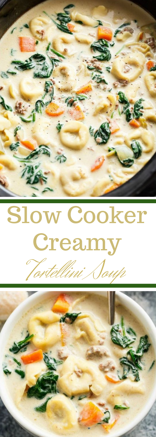 Slow Cooker Creamy Tortellini Soup #soup #vegan #vegetarian #cauliflower #mushroom