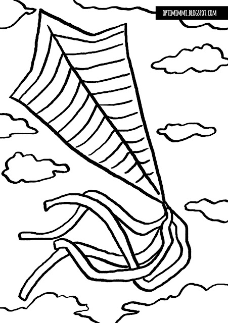 An easy coloring page of a kite / Helppo värityskuva leijasta