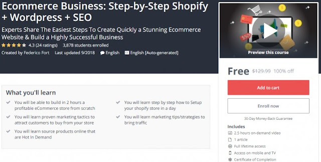 [100% Off] Ecommerce Business: Step-by-Step Shopify + Wordpress + SEO| Worth 129,99$