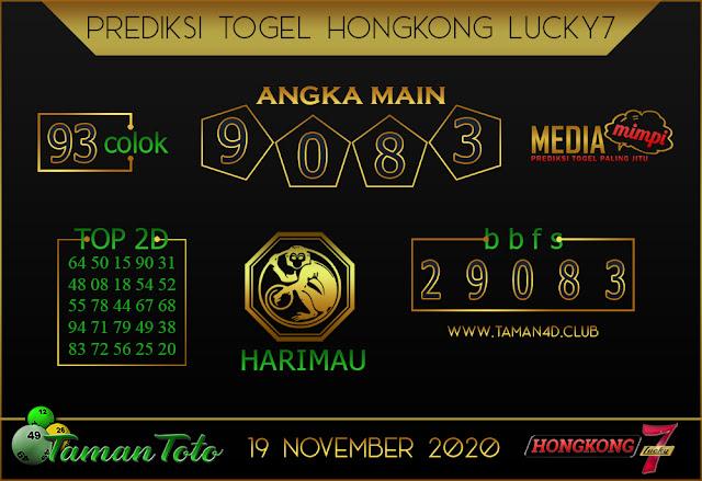 Prediksi Togel HONGKONG LUCKY 7 TAMAN TOTO 19 NOVEMBER 2020