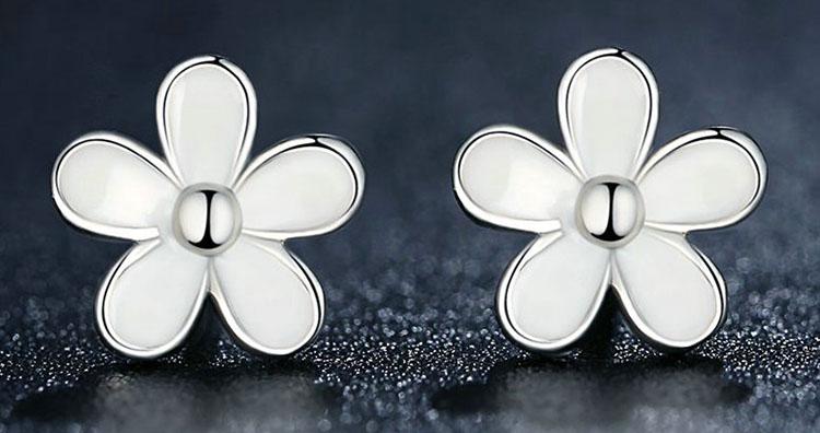 小雛菊 925純銀滴釉耳環