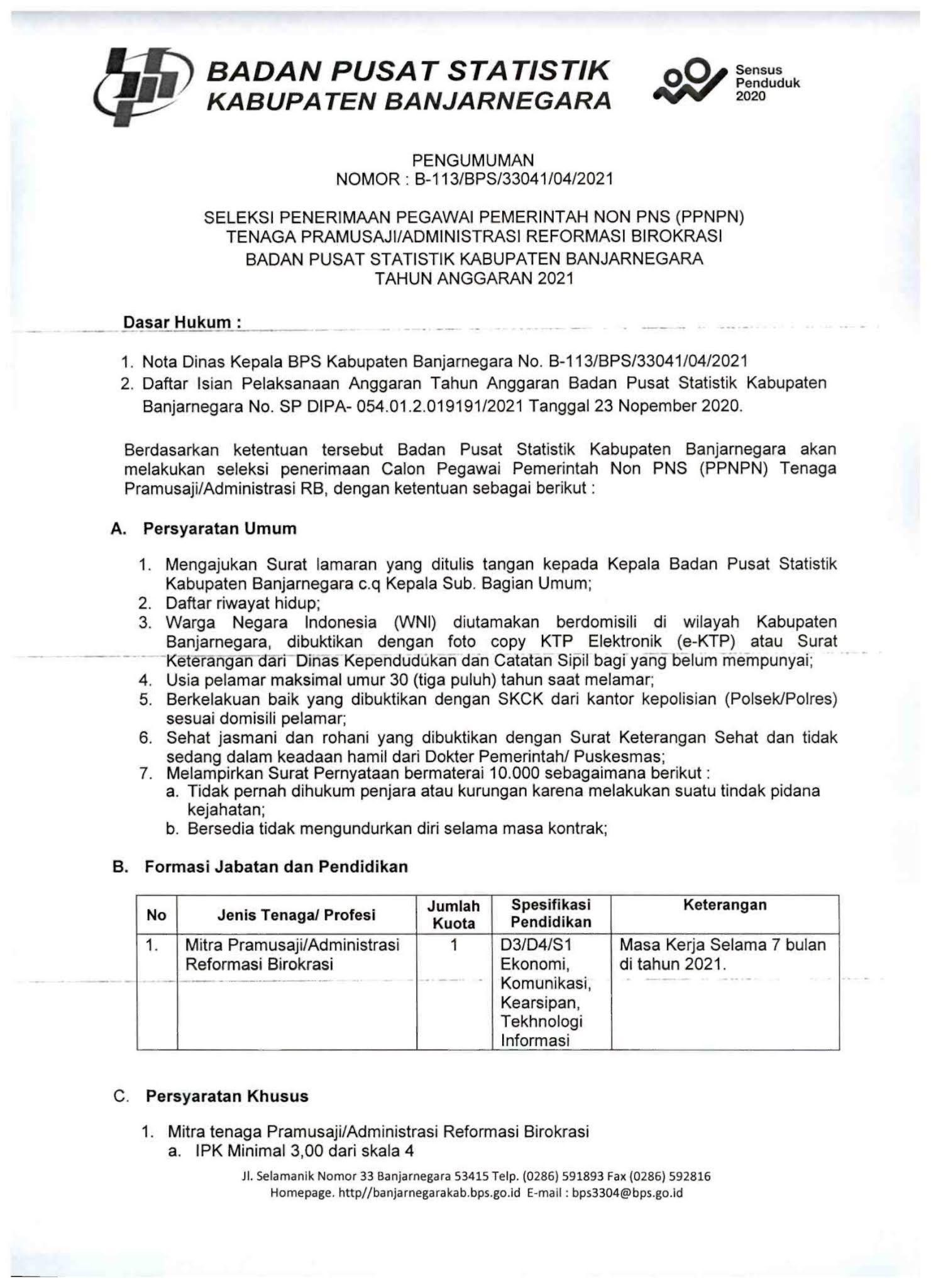 Lowongan Kerja Non PNS Tenaga PPNPN Badan Pusat Statistik (BPS) April 2021