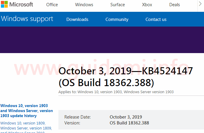 Sito web Microsoft Windows Support pagina update KB4524147