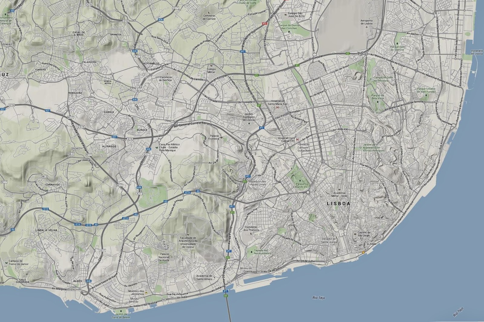 mapa topografico lisboa A bicicleta e o mito das colinas! mapa topografico lisboa