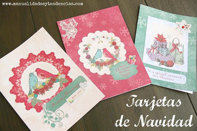 Tarjetas de Navidad hechas con scrapbooking