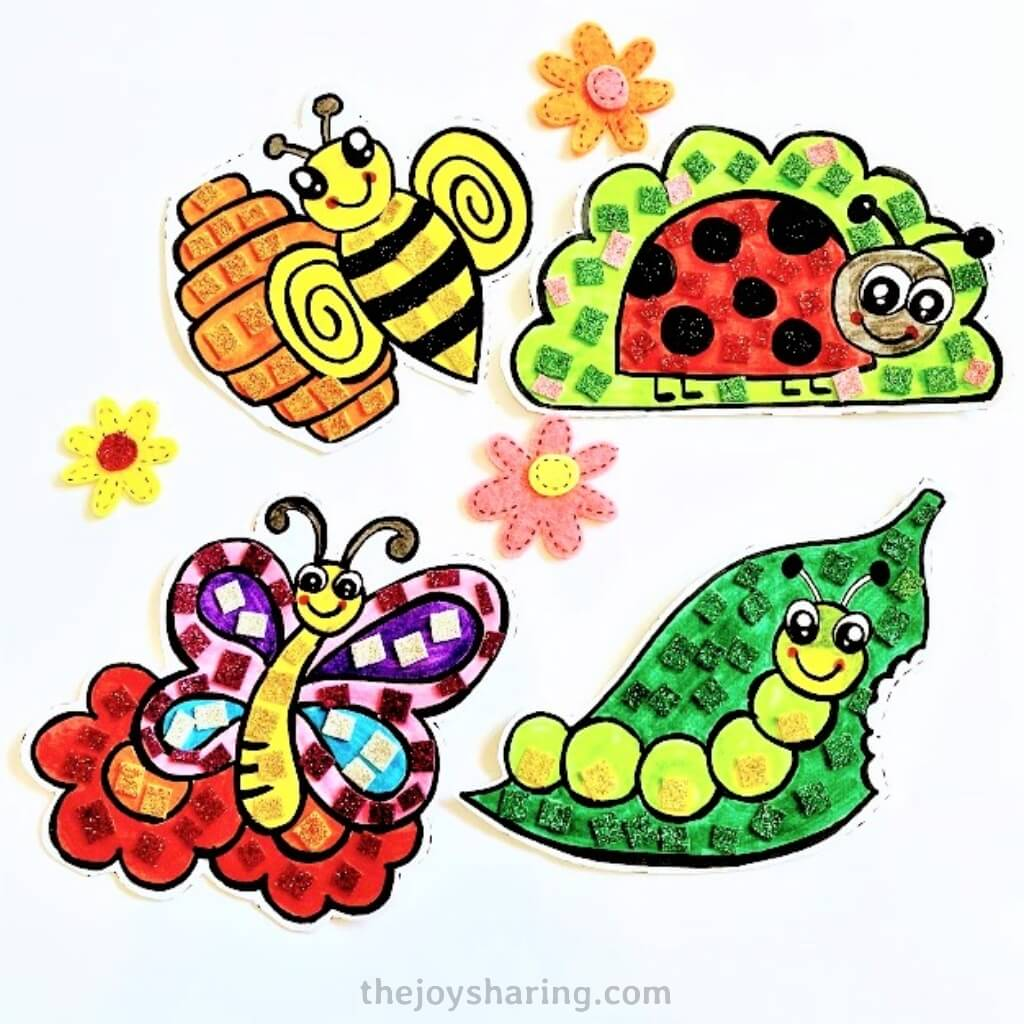 Cute Bugs Mosaic Art For Kids The Joy Of Sharing