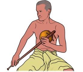 ピンピアを演奏する男性のイラスト (pinpia)