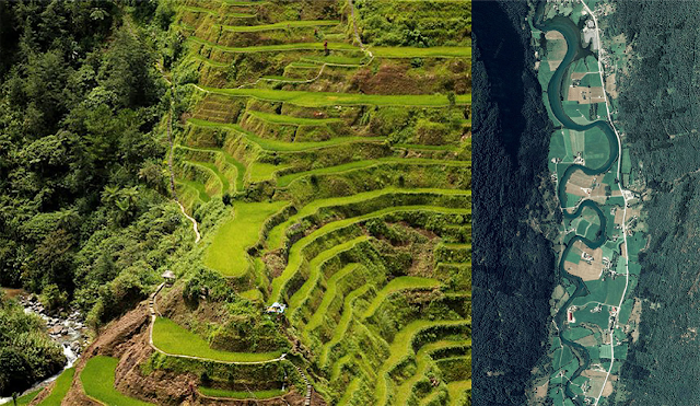 At left, Philippine rice terraces. At right a satellite view of a meandering river.