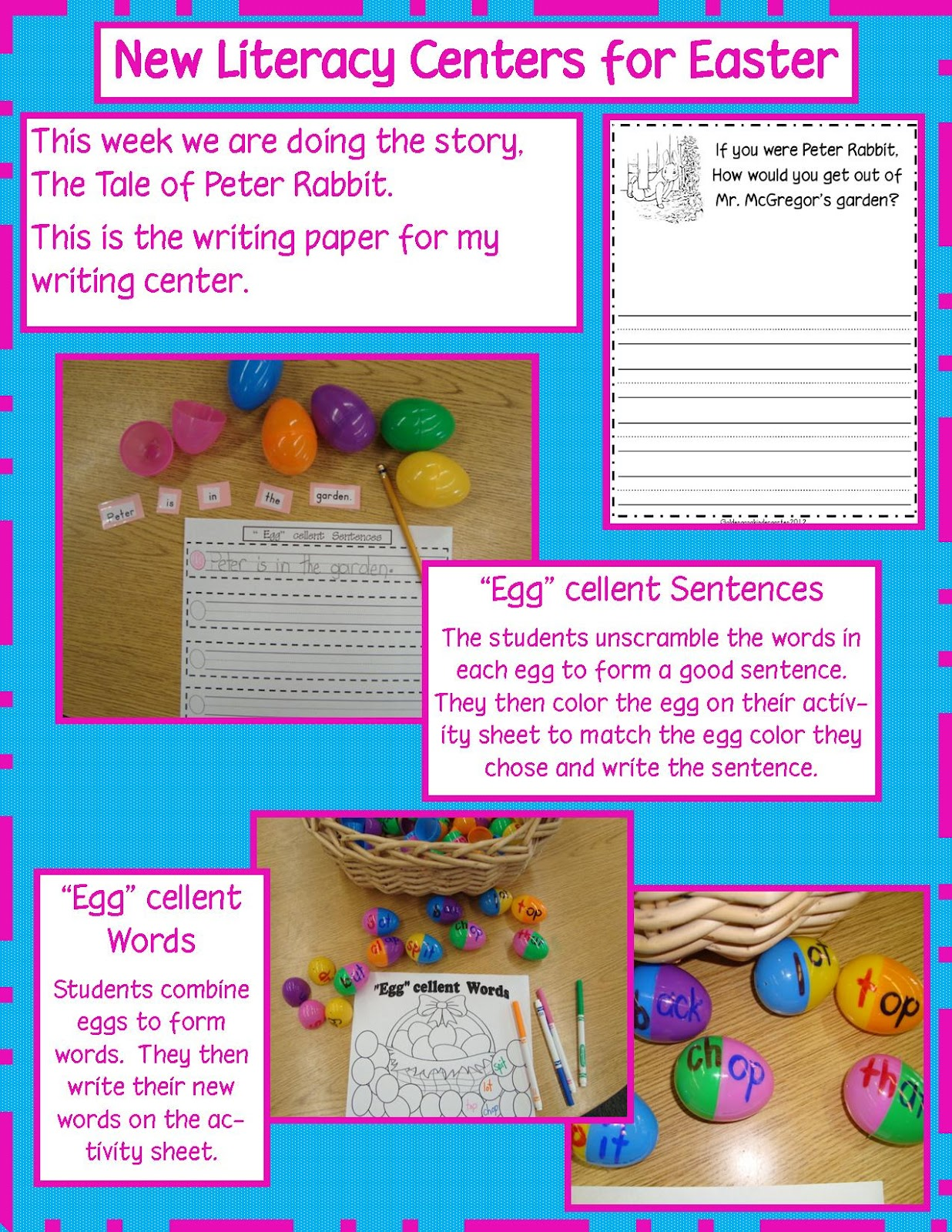 Golden Gang Kindergarten Easter Literacy Centers And Freebies