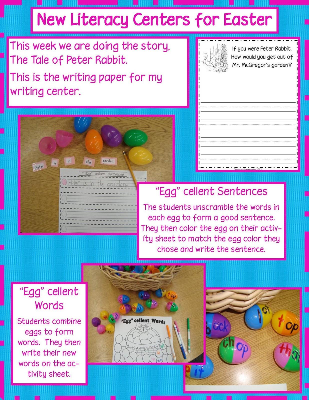 Golden Gang Kindergarten Easter Literacy Centers And Freebies