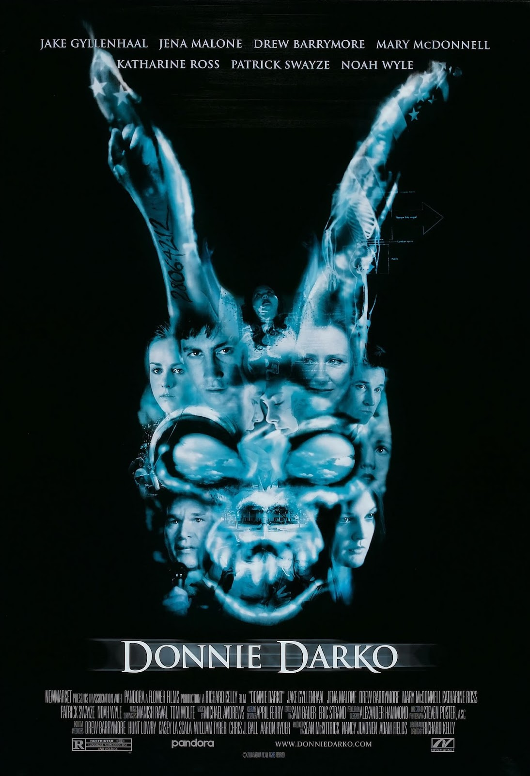 The theatrical release poster for Donnie Darko. It depicts a terrifying blue rabbit's head on a black background. The rabbit's head is actually a collage created by combining various characters' faces and other stills from the film.