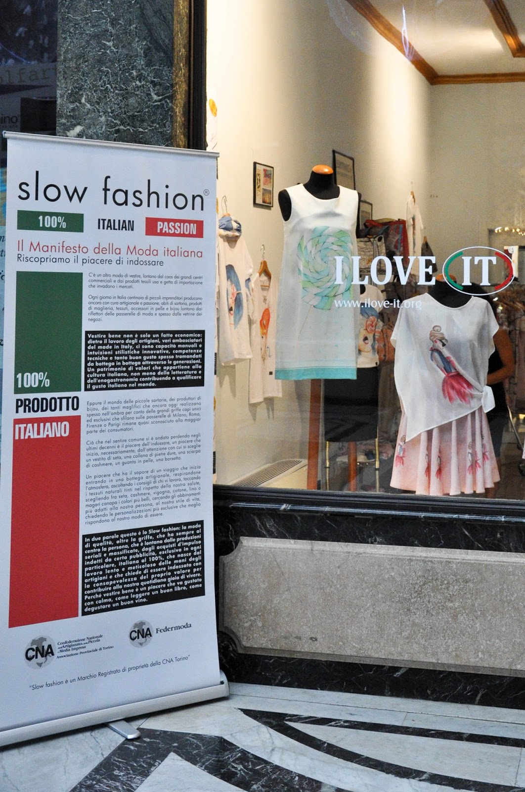 Slow Fashion Movement, Galleria San Federico, Turin, Italy