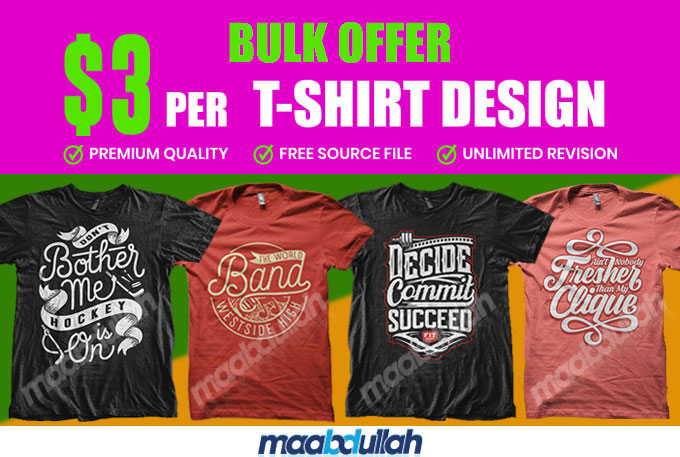I will do bulk typography t shirt design for your print on demand platforms