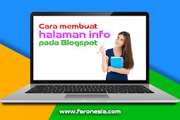 Cara mudah membuat halaman info pada blogspot