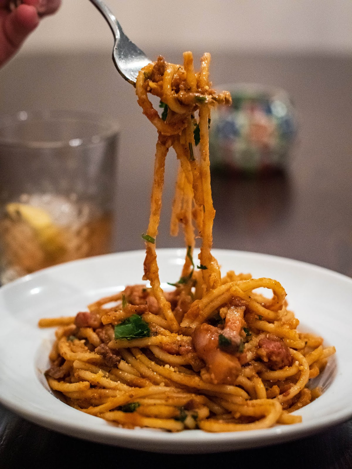 Bucatini pasta with chorizo, guanciale and spicy soffrito | Local Food Rocks