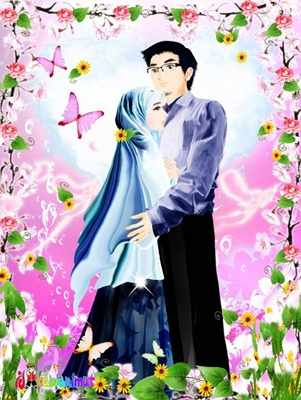 720+ Gambar Kartun Romantis Islami Suami Istri HD