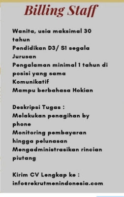 Lowongan Kerja Medan SMA SMK D3 S1 Maret 2020 PT Rekrutmen Indonesia